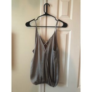 Silky gray top with cross detail